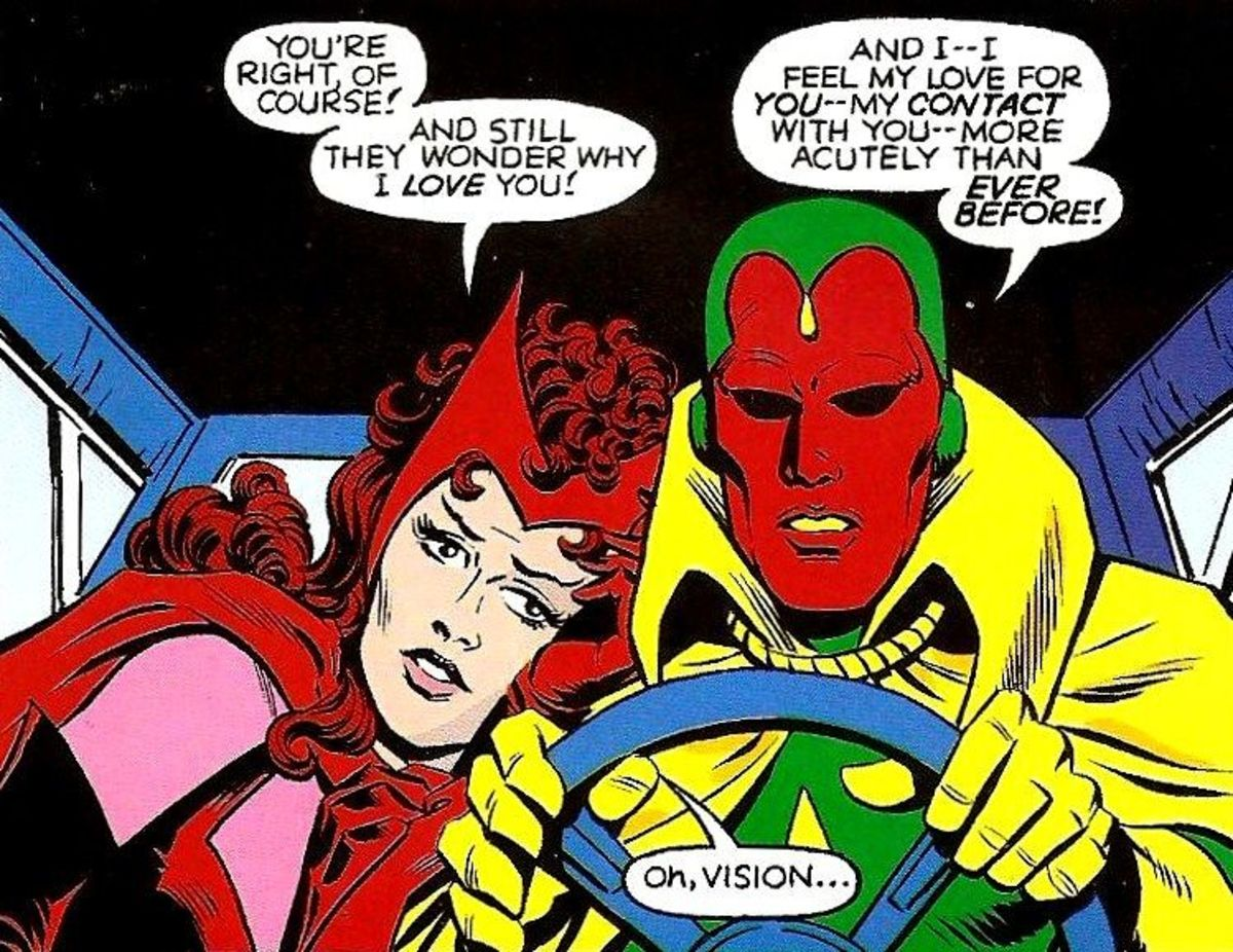 The comic versions of Scarlet Witch and the Vision