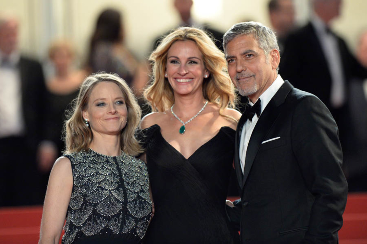 Jodie Foster, Julia Roberts and George Clooney at the premiere of the film at the 2016 Cannes film festival.