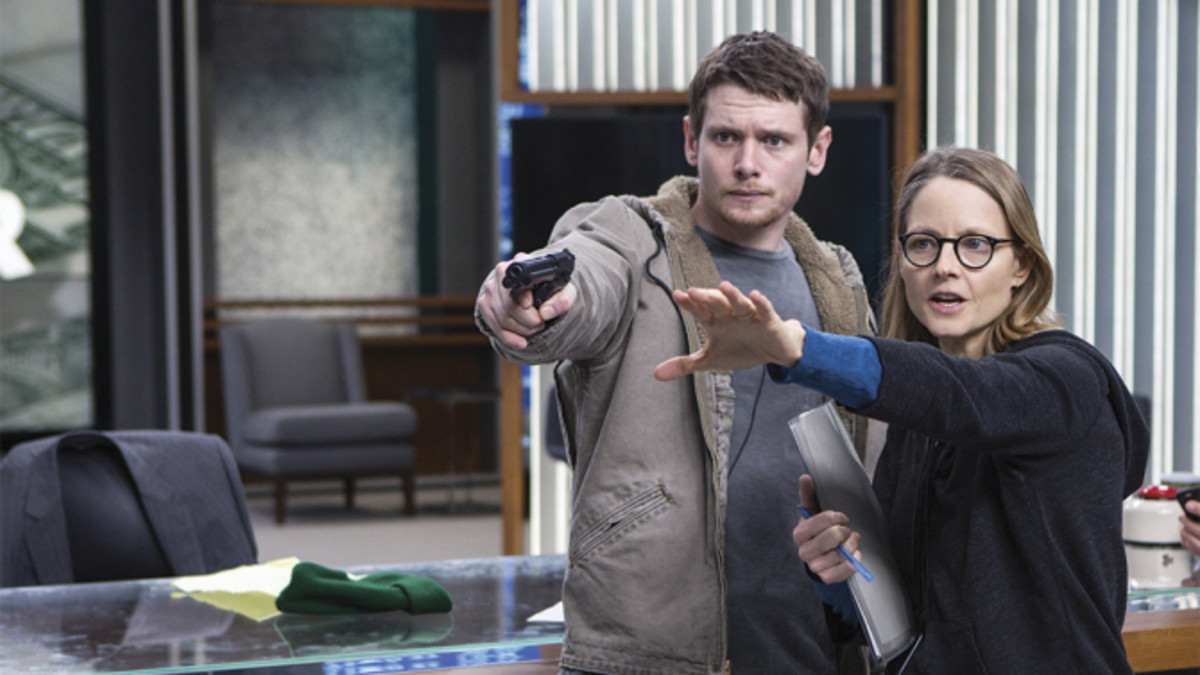 Director Jodie Foster and Jack O'Connell during filming.