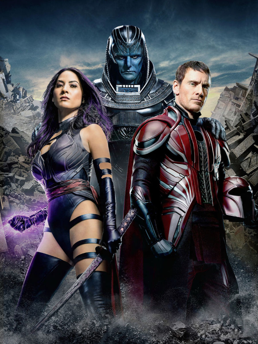 From left to right: Olivia Munn (as Psylocke), Oscar Isaac (as Apocalypse), and Michael Fassenbender (as Magneto). I can honestly say I am astounded by the amount of self-esteem to wear that outfit.
