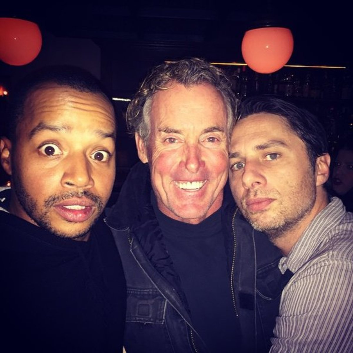 Donald Faison, John C. McGinley, and Zach Braff reunited in 2014 for a boy's night out.