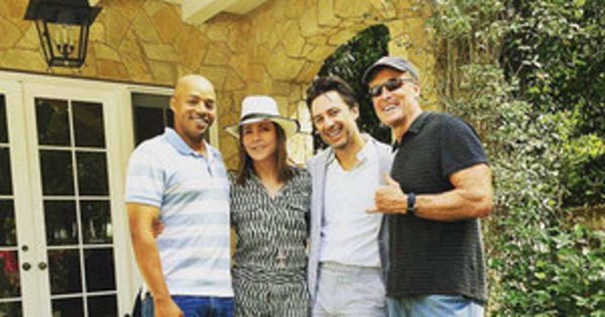 From left to right: Donald Faison, Christa Miller, Zach Braff, and John C. McGinley.  The group reunited for an Easter celebration in 2016.