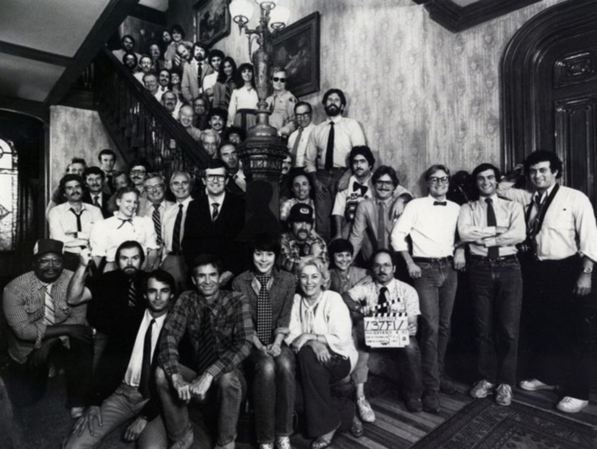 The cast & crew of Psycho II during filming in the Psycho house