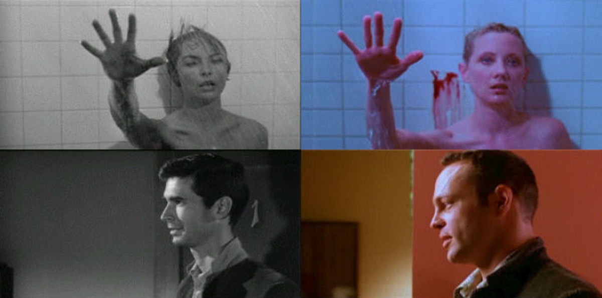 Shot-for-shot comparison between the 1960 film and its 1998 counterpart
