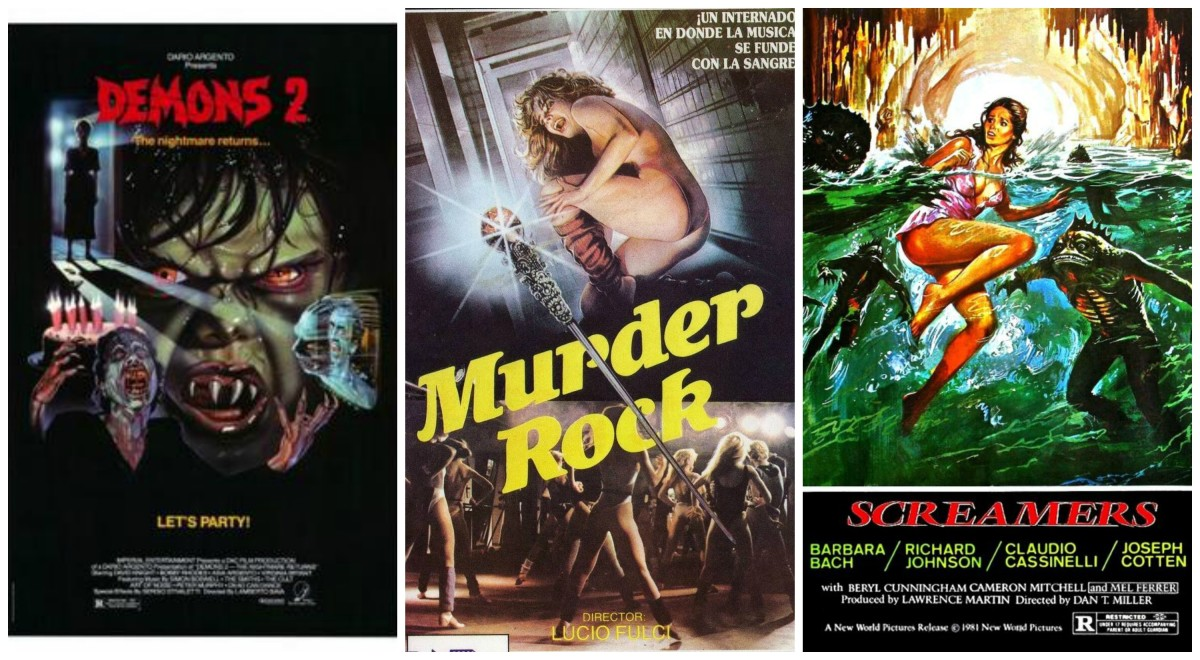 "L-R: ""Demons 2"" (1986), ""Murder Rock"" (1984), ""Screamers"" (1979/1981)"