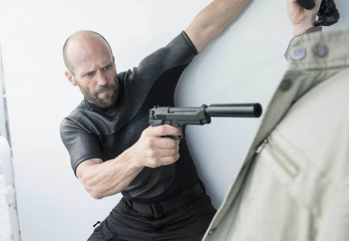 "Jason Statham as Arthur Bishop in ""Mechanic: Resurrection."""