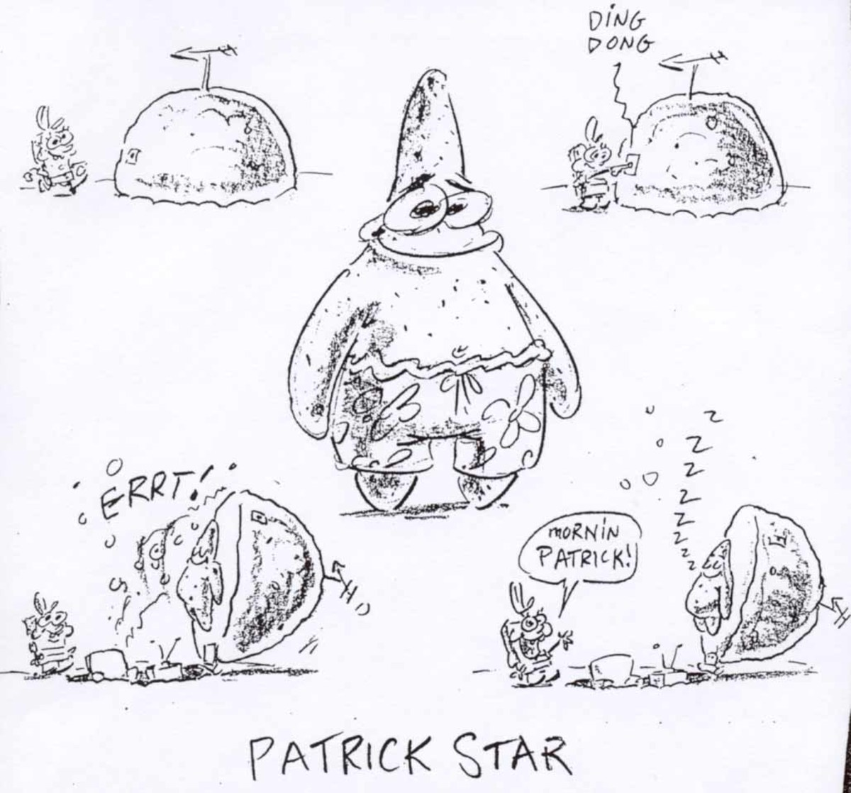 One of the original character mockups for Patrick and his rock.