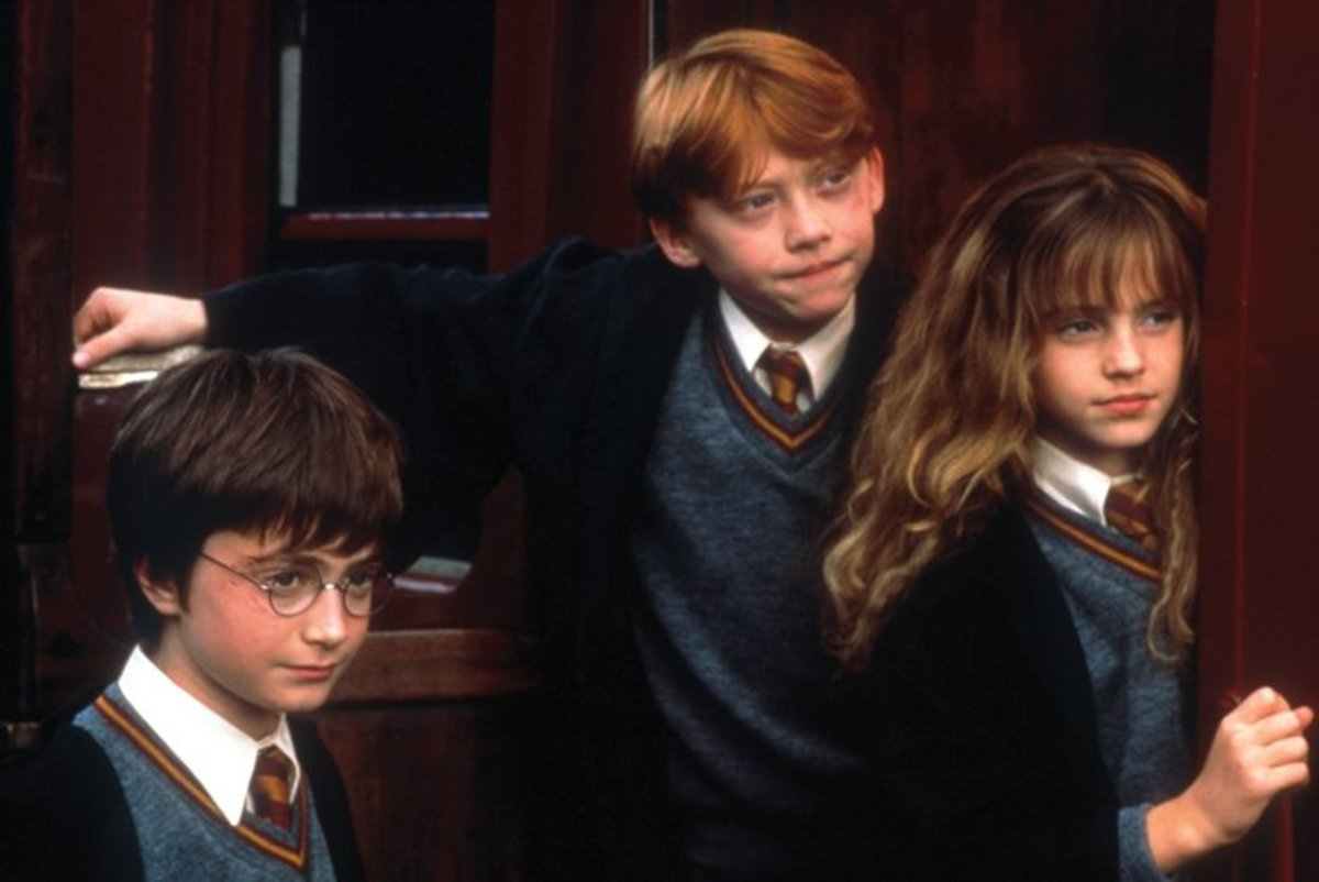 Harry, Ron, and Hermione on the Hogwarts Express