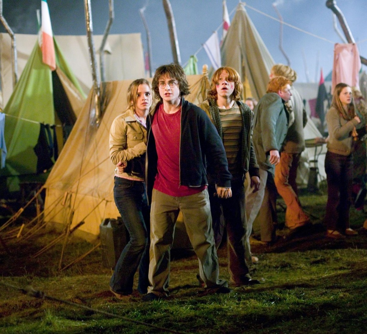 Hermione, Harry, and Ron witness Death Eaters launch an attack at the Quidditch World Cup