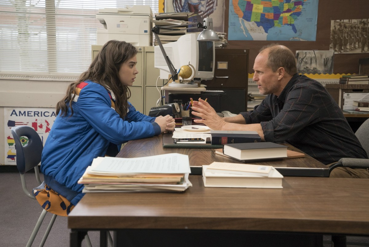 "Hailee Steinfeld and Woody Harrelson in ""The Edge of Seventeen."""
