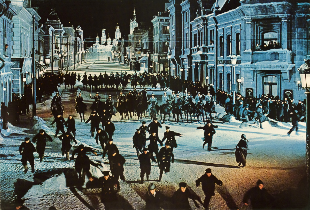 "Attack on a peaceful demonstration in the film ""Doctor Zhivago"" (1965)"