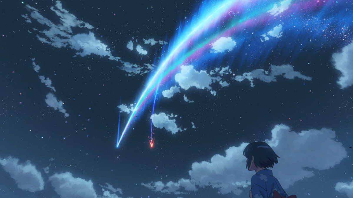 "A scene from Makoto Shinkai's anime film,""Your Name."""