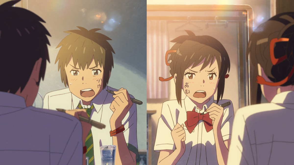 "Taki and Mitsuha in, ""Your Name."""