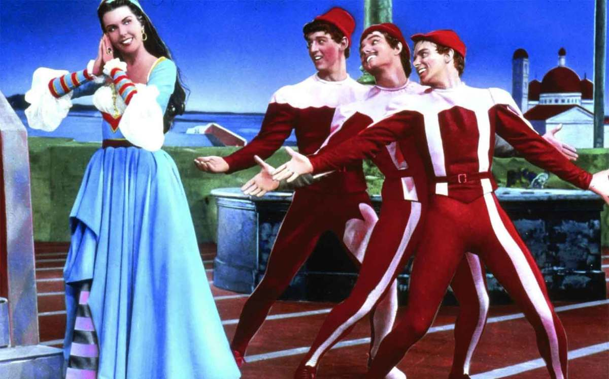 Ann Miller and her trio of suitors.