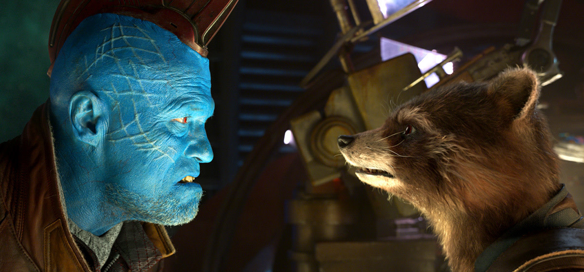 "Michael Rooker and Bradley Cooper in ""Guardians of the Galaxy Vol. 2."""