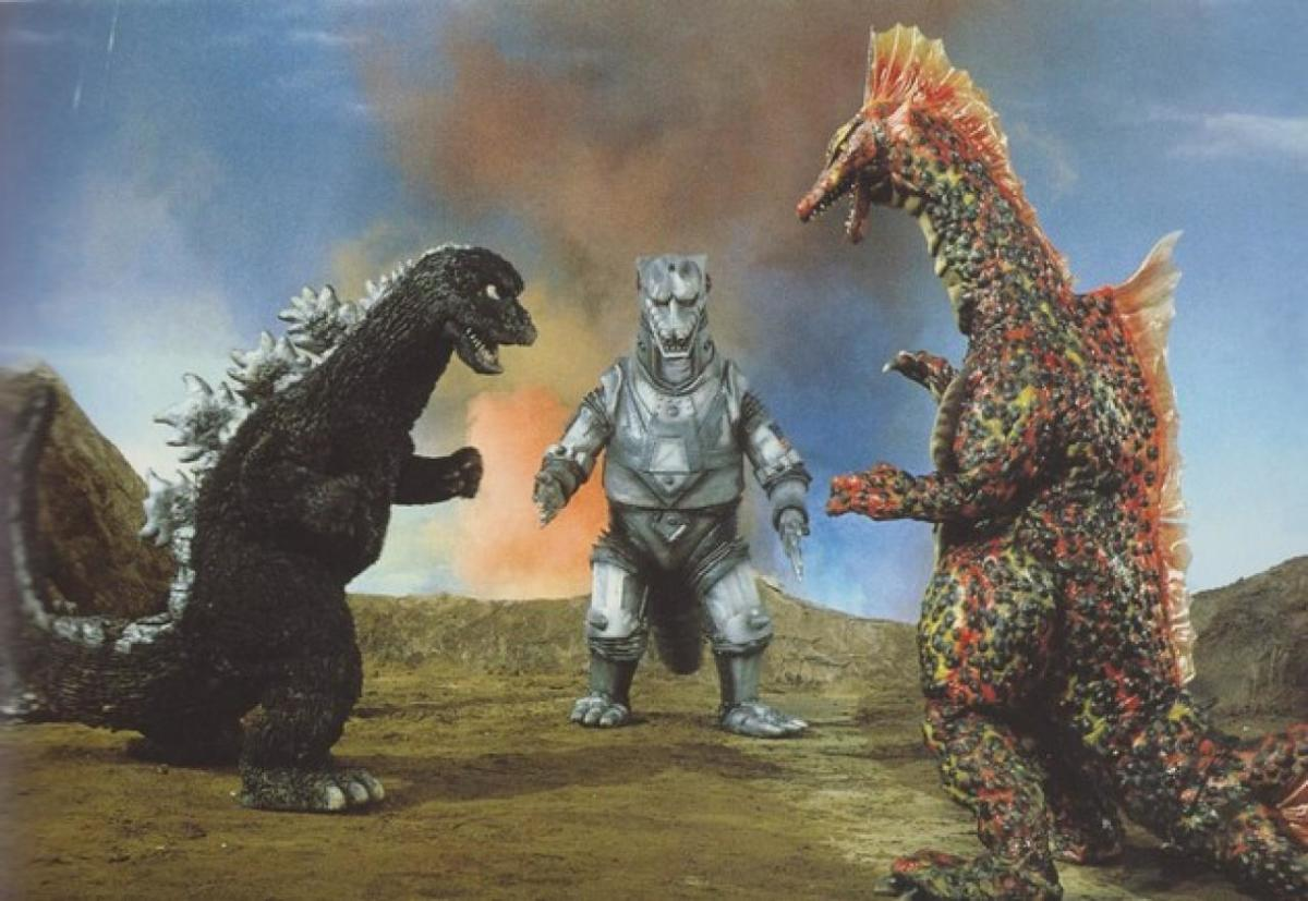 Godzilla, Mechagodzilla, and Titanosaurus in the 1974 movie Godzilla vs. Mechagodzilla