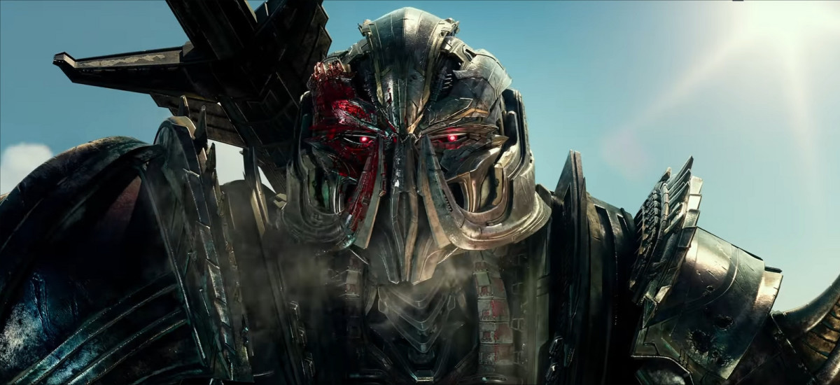 "Megatron (voiced by the great Frank Welker) shows off his new face in ""Transformers: The Last Knight."""
