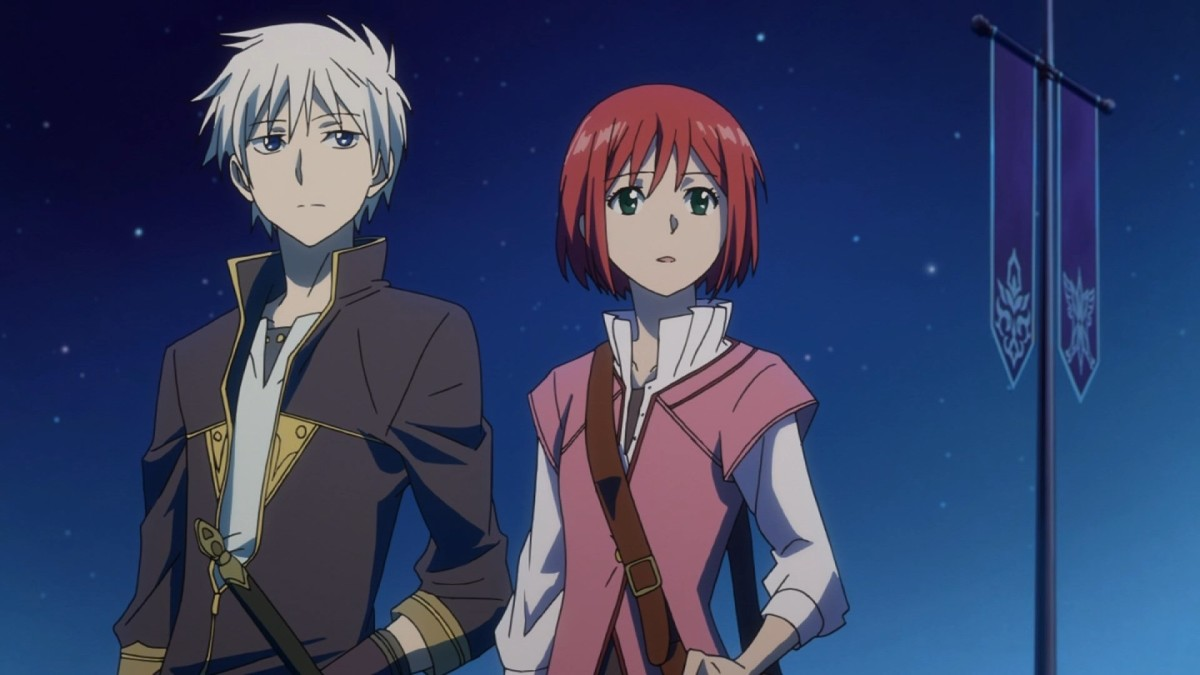 Zen and Shirayuki share a heartwarming moment under twilit skies.