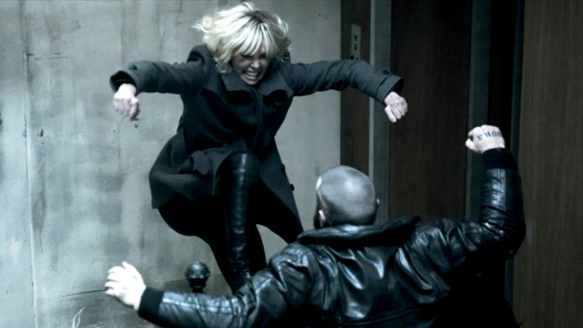 "Charlize Theron as Lorraine Broughton in ""Atomic Blonde."""