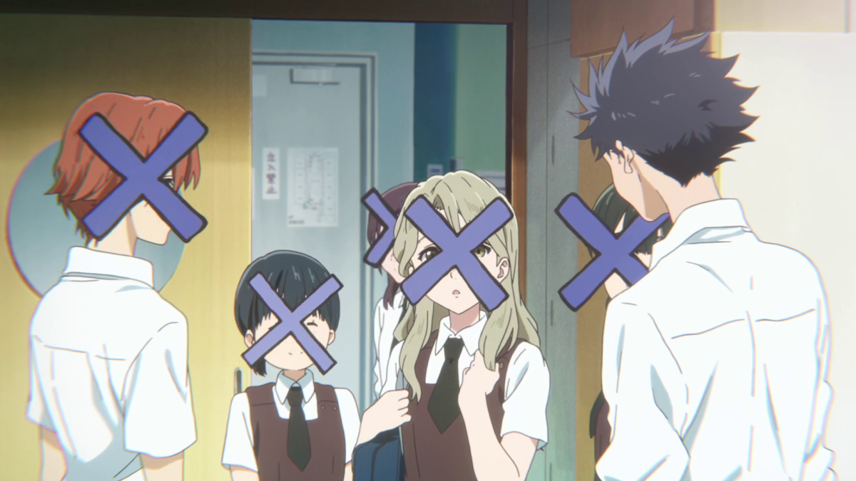 Shouya's perspective includes the large blue Xs that block out others' faces.