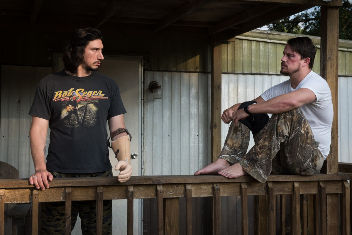 "Adam Driver and Channing Tatum as Clyde and Jimmy Logan in ""Logan Lucky."""