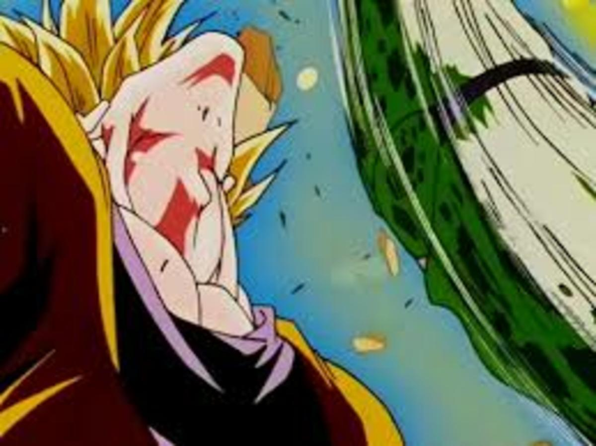 Goku is pummeled by Cell...