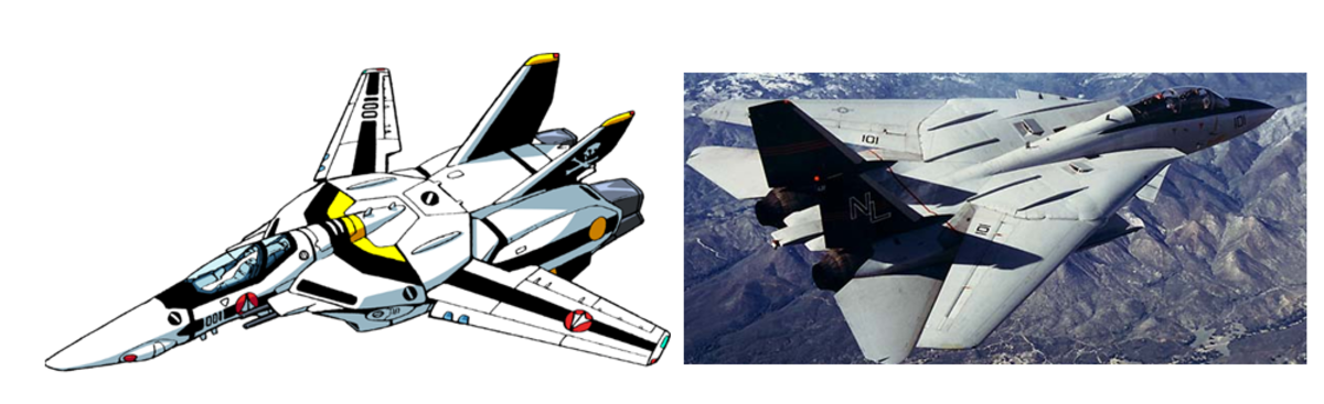 The VF-1S Valkyrie (left) and an F-14 Tomcat (right).