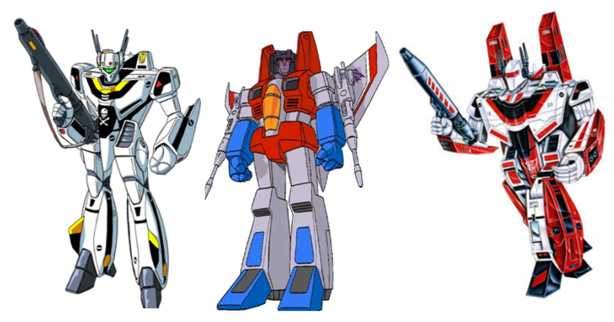 From left to right; the VF-1S Valkyrie, Starscream, and the original Jetfire.