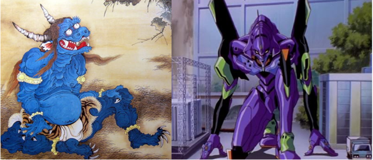 An Oni (left) side by side with the EVA Unit-01.