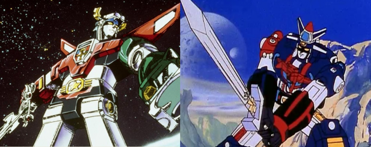 Voltron Lion Force (left) and Vehicle Team (right).