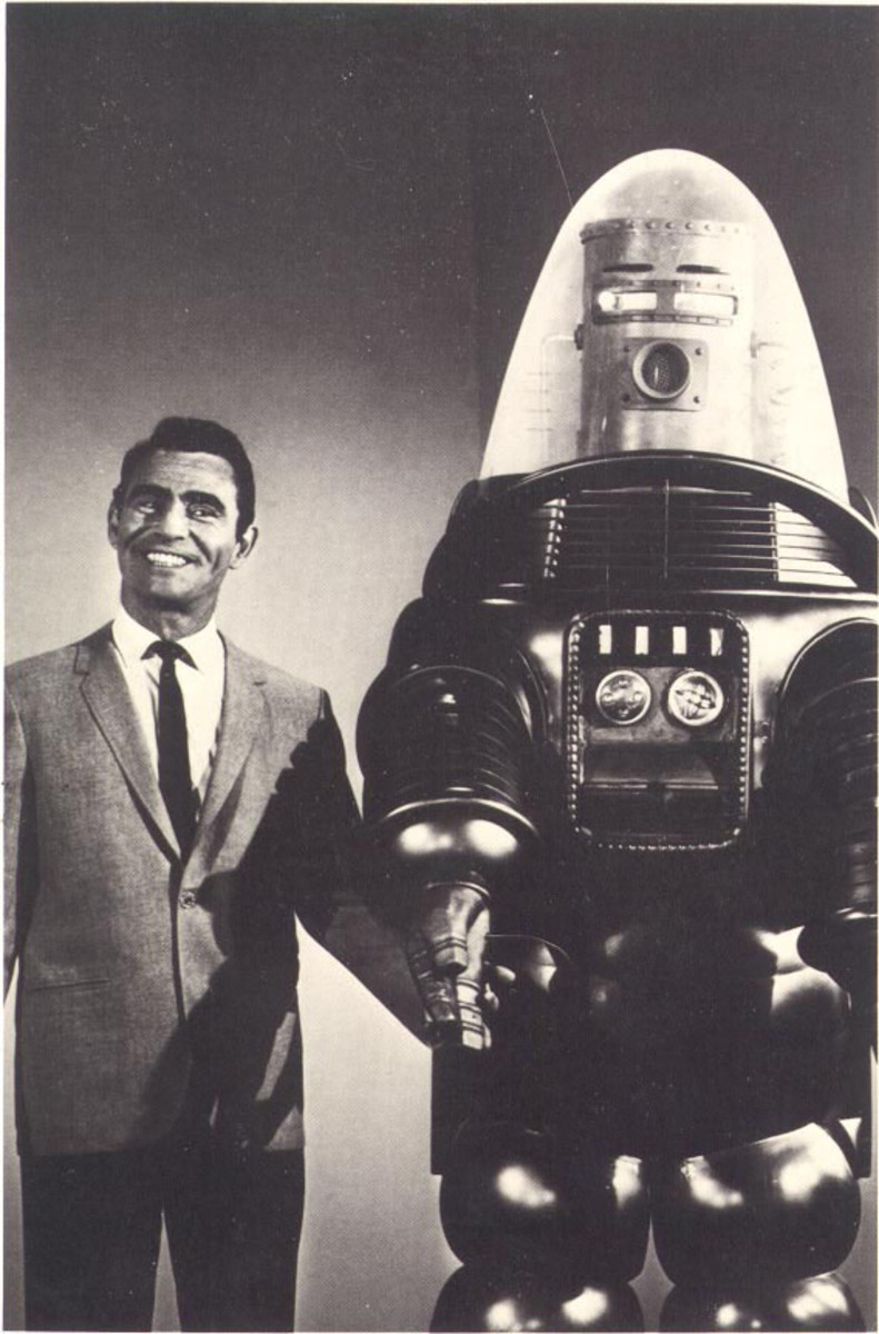 Series creator Rod Serling and Robby the Robot.
