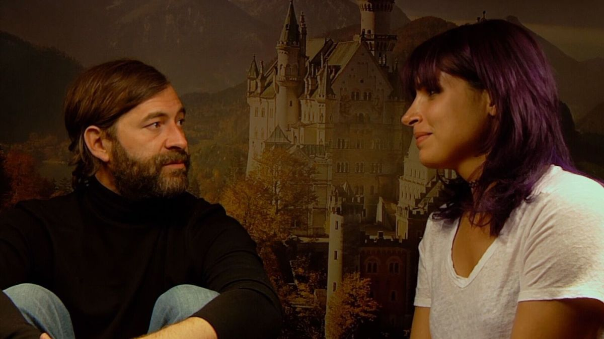 "Mark Duplass and Desiree Akhavan as Aaron and Sara in ""Creep 2."""