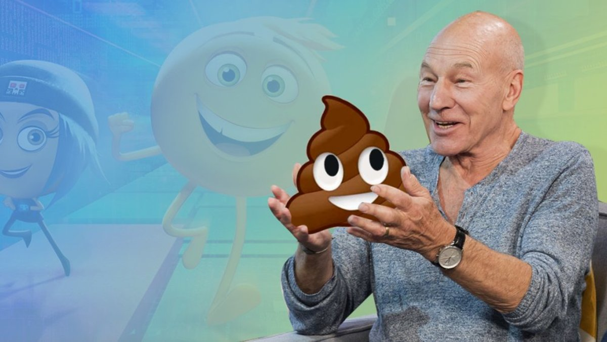 Sir Patrick Stewart holding the screenplay for The Emoji Movie in his hands!