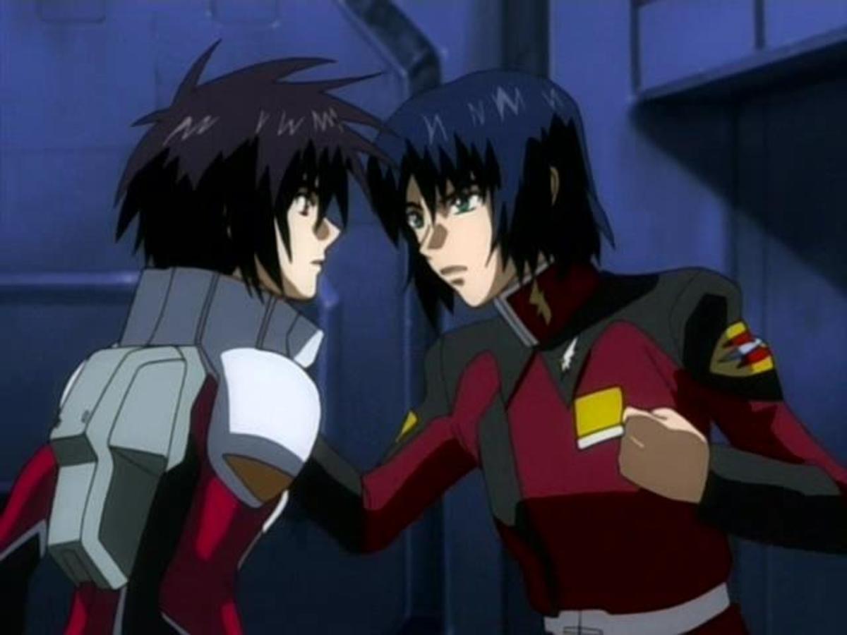 Shinn and Kira having a friendly talk.