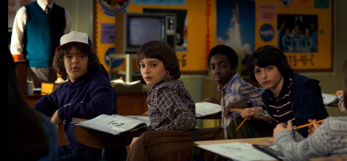 The returning party from season 1 From left: Dustin (Gaten Matarazzo), Will (Noah Schnapp), Lucas (Caleb McLaughlin), and Mike (Finn Wolfhard)