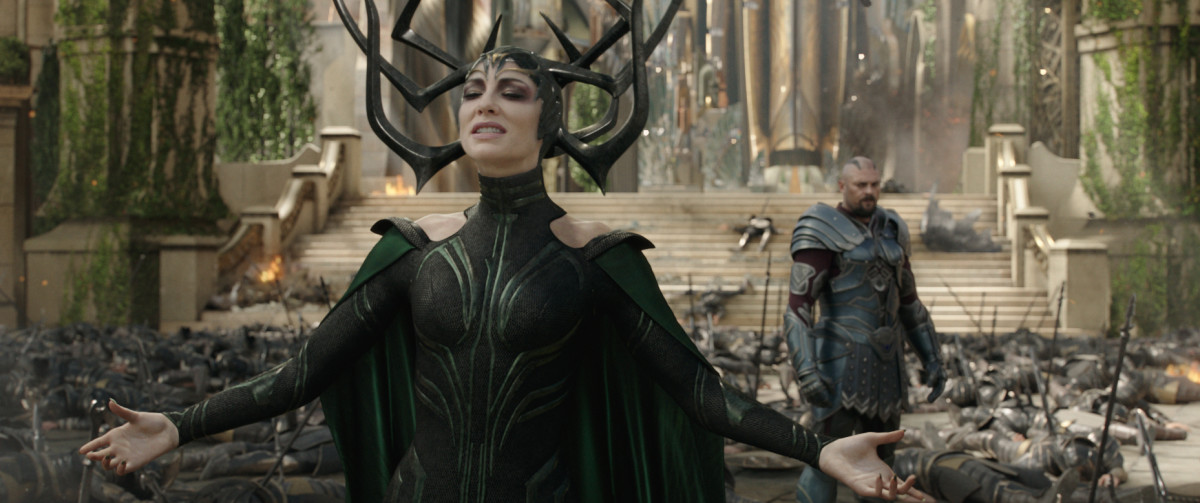"Cate Blanchett and Karl Urban as Hela and Skurge in ""Thor: Ragnarok."""