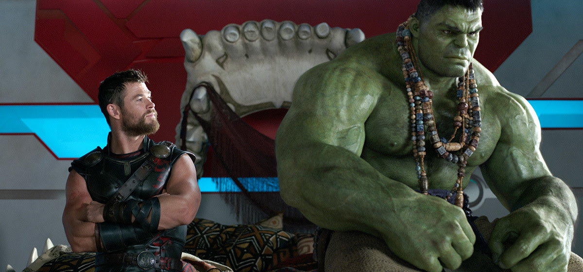 "Chris Hemsworth and Mark Ruffalo as Thor and Hulk in ""Thor: Ragnarok."""