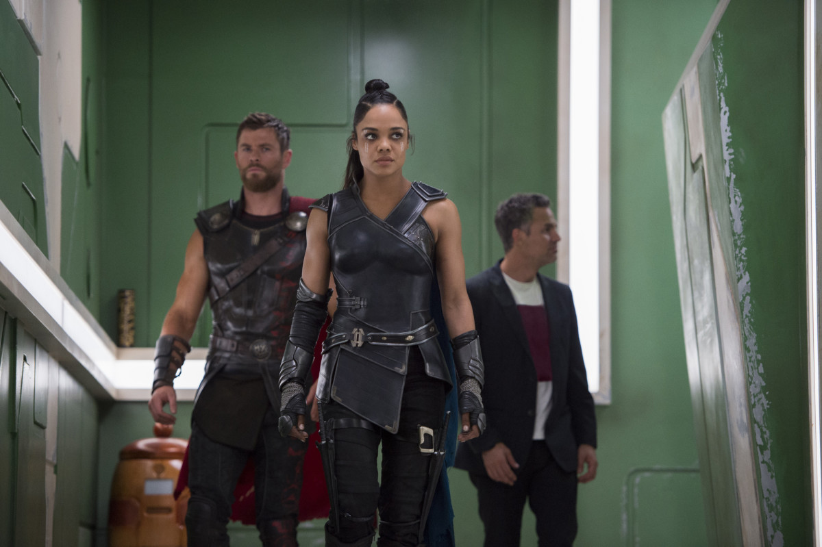 From left: Thor (Chris Hemsworth), Valkyrie (Tessa Thompson), and Bruce Banner (Mark Ruffalo)