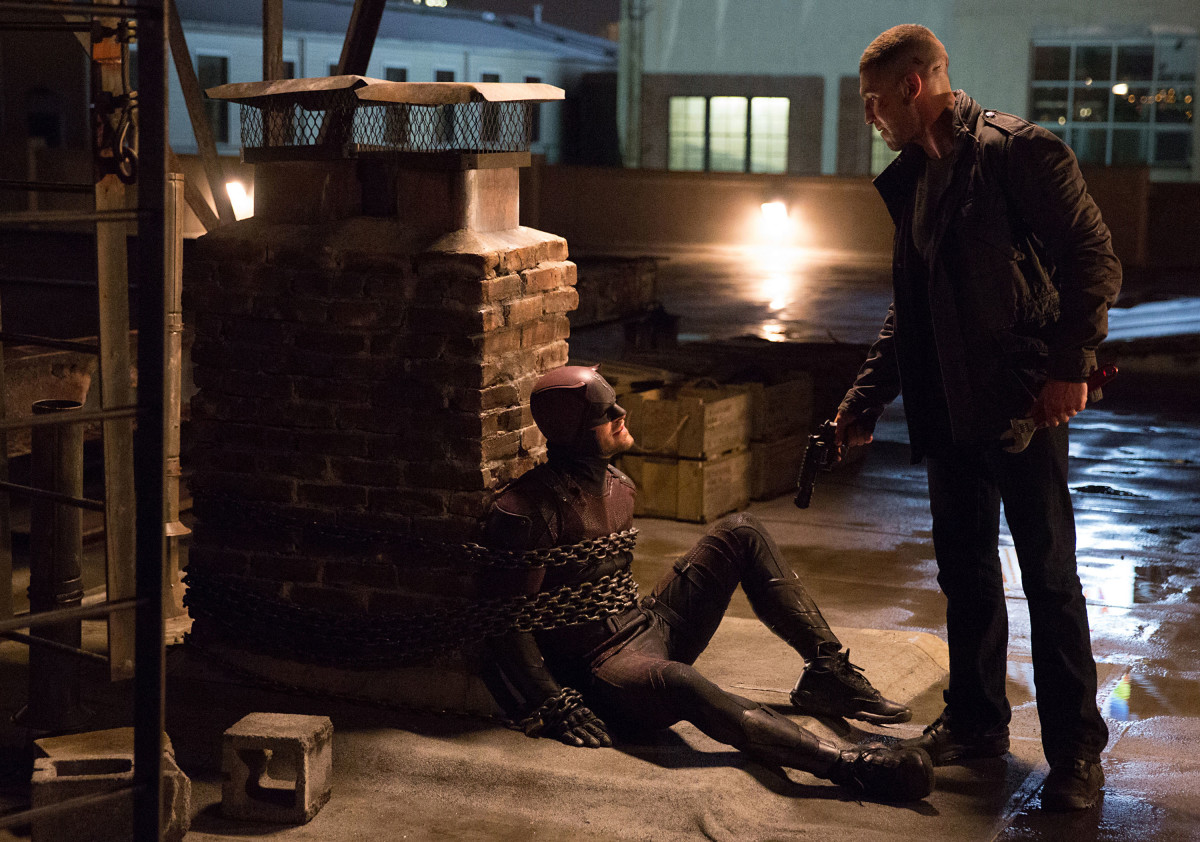 Jon Bernthal's Punisher (right) and Charlie Cox as Matt Murdock in the second season of Daredevil.