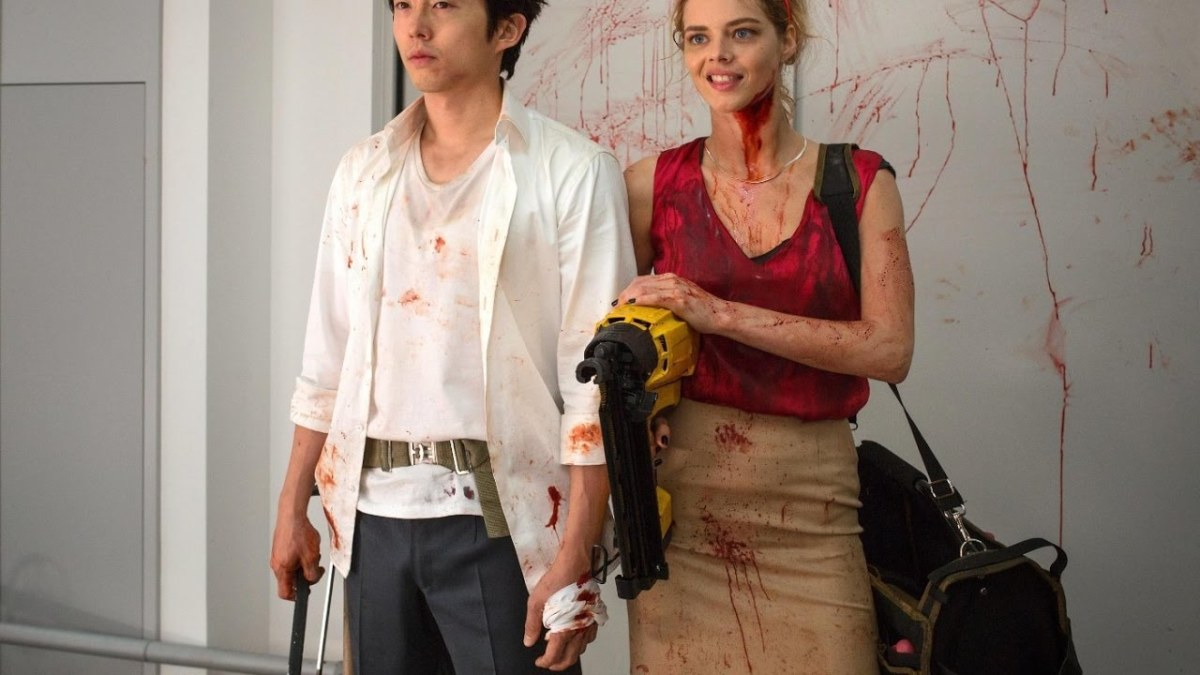 That smirk Samara Weaving, smirking done to perfection. #Mayhem #SamaraWeaving #StevenYuen #Horror #Movies #Reviews#JoeLynch