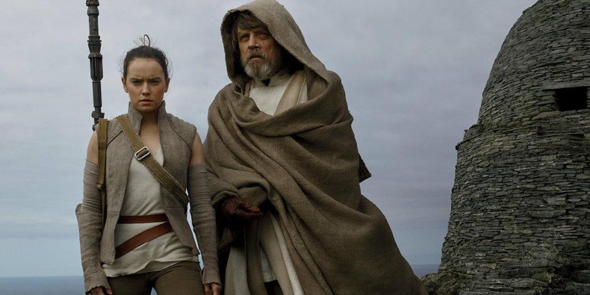 Daisy Ridley and Mark Hamill as Rey and Luke Skywalker.