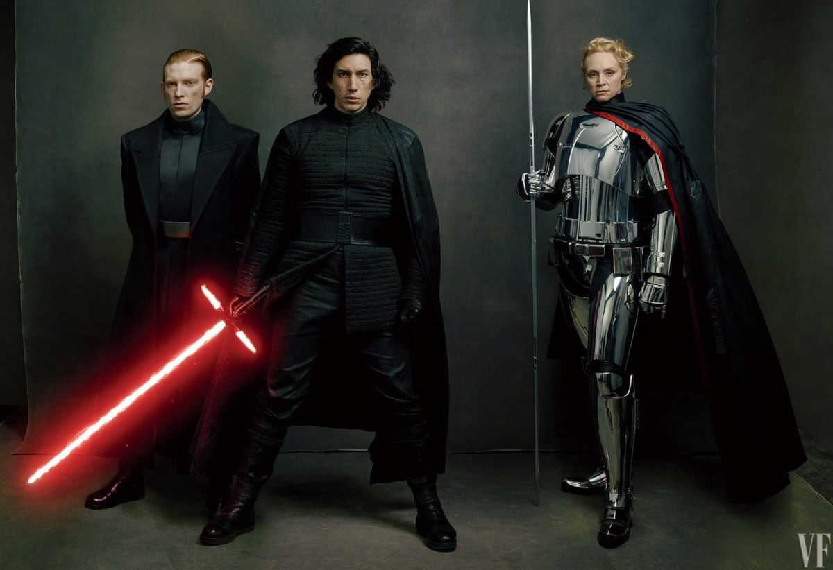 From left to right: General Hux (Domhnall Gleeson), Kylo Ren (Adam Driver), and Captain Phasma (Gwendoline Christie)