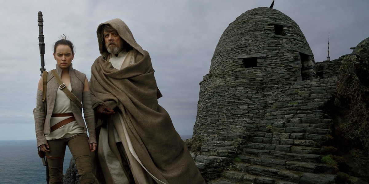 Rey (Daisy Ridley) and Luke Skywalker (Mark Hamill)