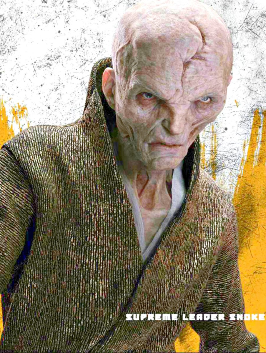 Supreme Leader Snoke, mokapped and voiced by Andy Serkis