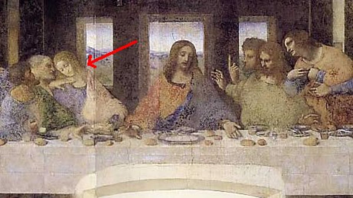Da Vinci's The Last Supper cropped to show the V shape discussed in the film The Da Vinci Code.