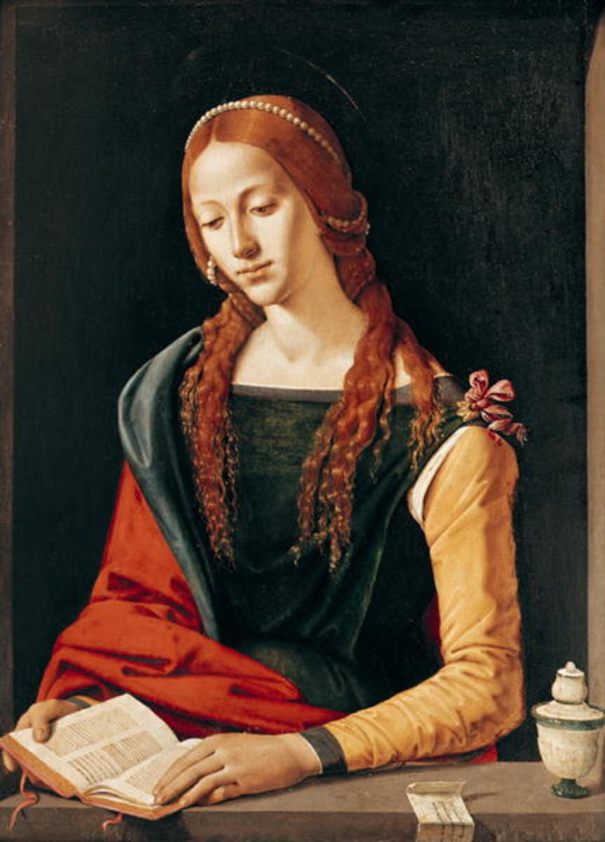 This painting by  Piero di Cosimo, c. 1500-1510 is also intriguing because it portrays Mary Magdalene as intelligent and a scholar.