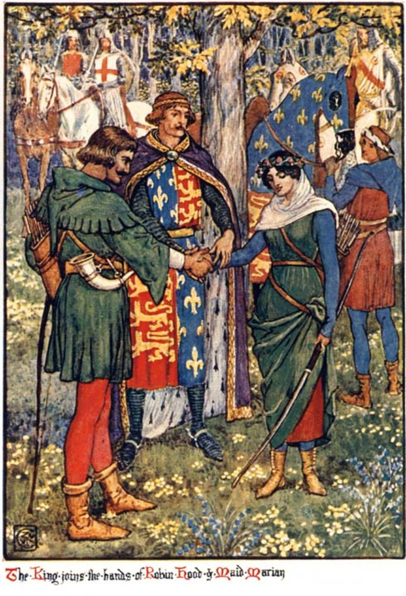 """The King joins the hands of Robin Hood and Maid Marian"", from Henry Gilbert's novel Robin Hood and the Men of the Greenwood, originally published in 1912. The book was illustrated by Walter Crane"