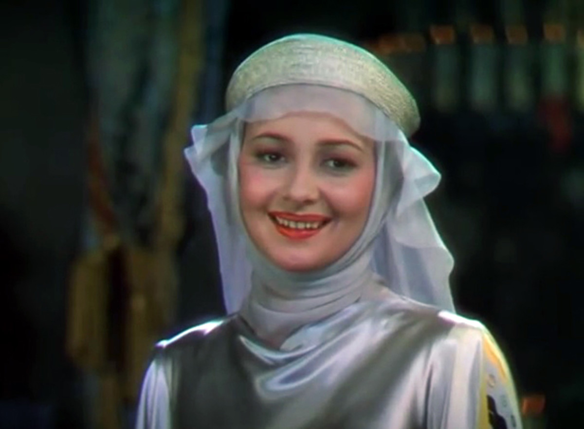 Olivia de Havilland in a screen capture from the film trailer for The Adventures of Robin Hood, 1938.