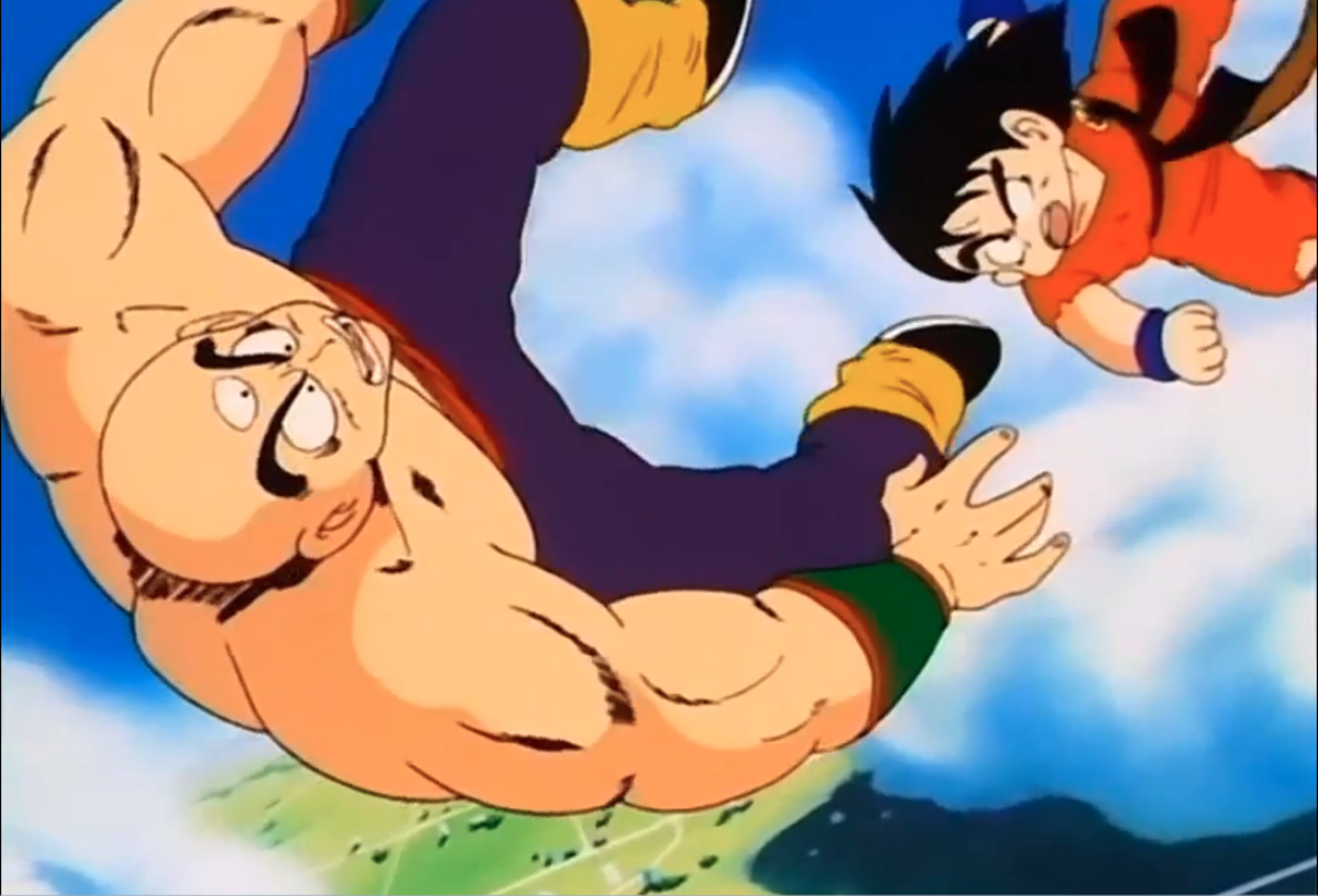 Goku and Tien falling during their battle at the 22nd Annual World Martial Arts Tournament.
