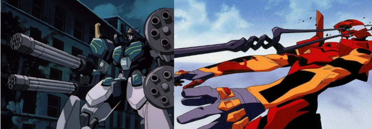Scenes from the two anime.
